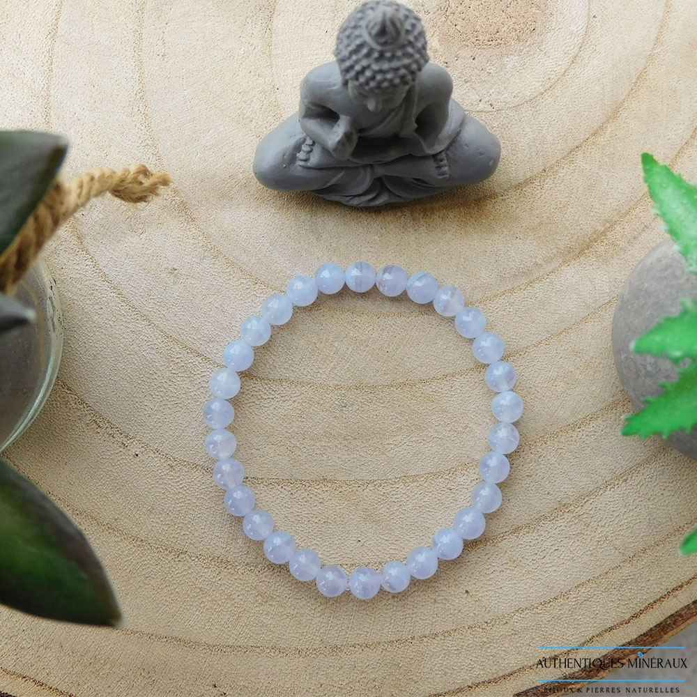 Bracelet Calcedoine Bleue 6mm