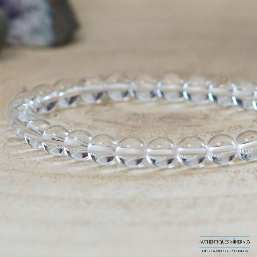 Bracelet cristal de roche 6mm -