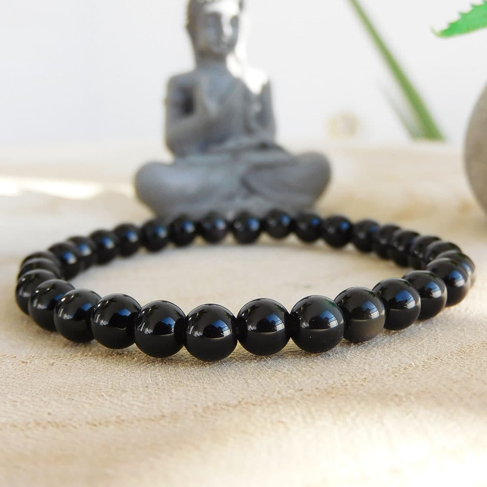 Bracelet obsidienne 6mm