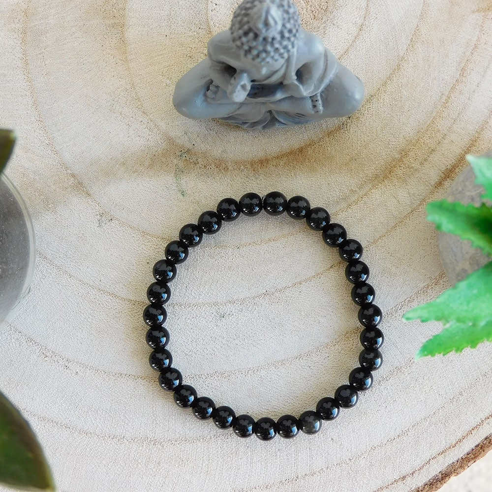 Bracelet Obsidienne noire 6mm