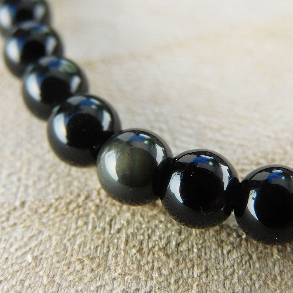 bracelet obsidienne 6mm zoom