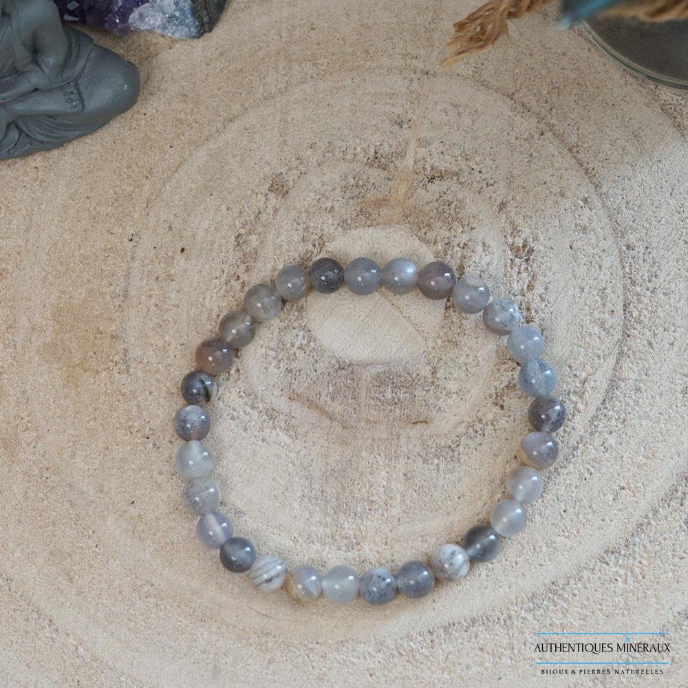 bracelet pierre de soleil noire 6mm -