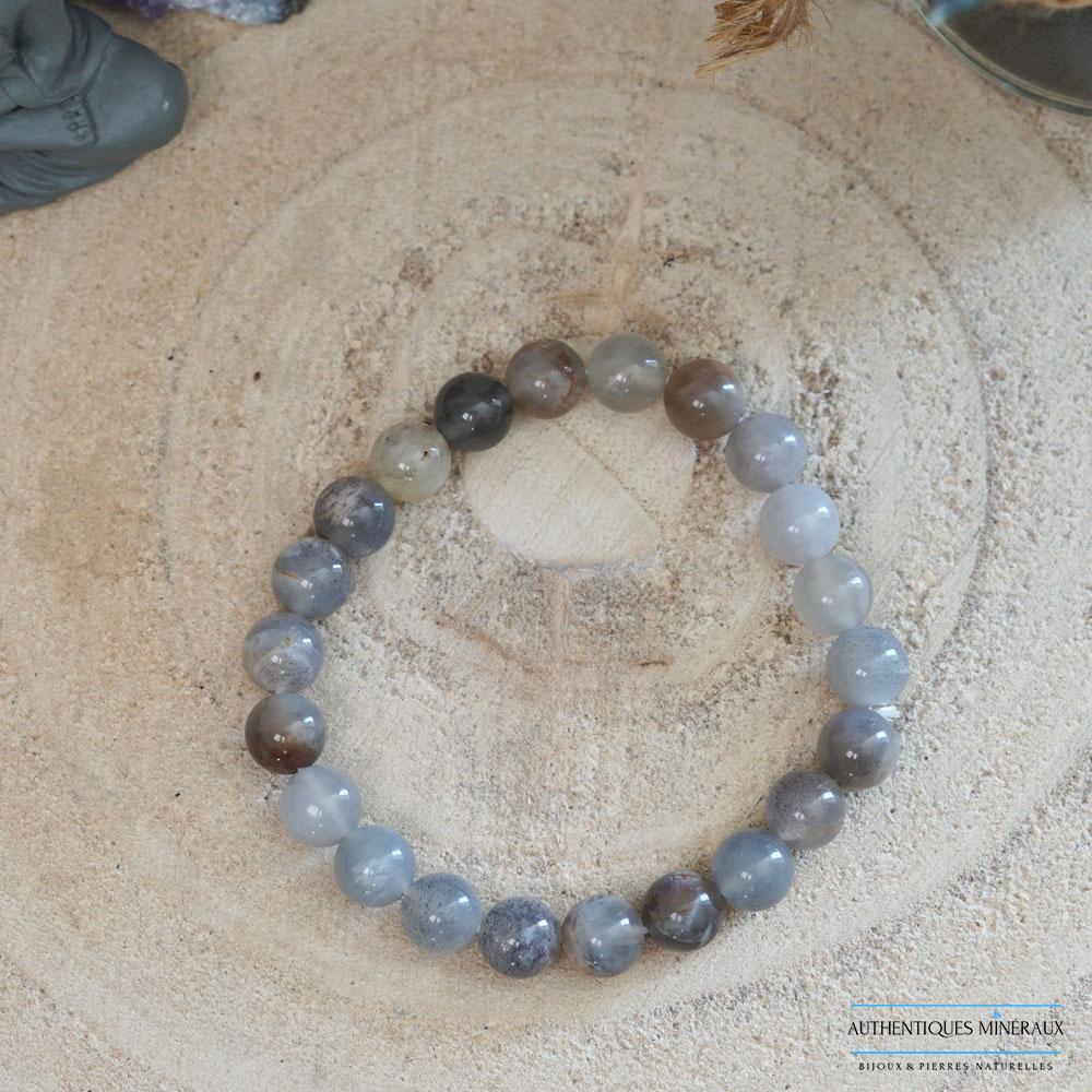 bracelet pierre de soleil noire 8mm -