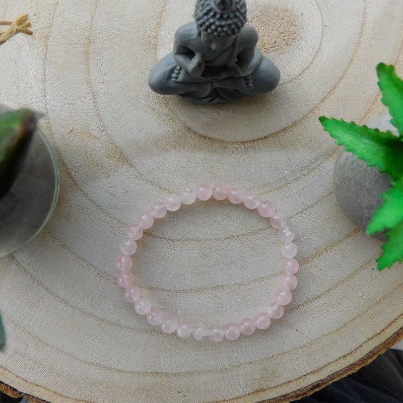 Bracelet quartz rose 6mm