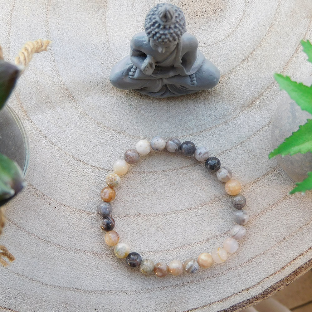 Bracelet Agate feuille de bambou 6mm