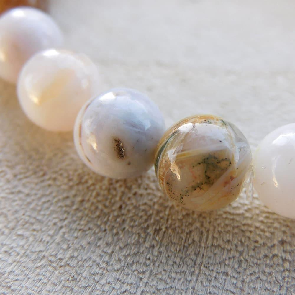 Bracelet Agate feuille de bambou 8mm