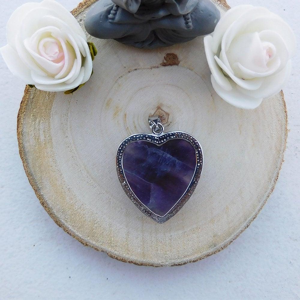 Pendentif coeur amethyste dos