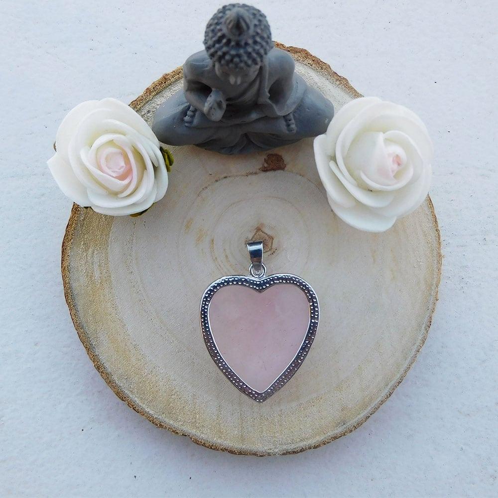 Pendentif coeur quartz rose dos