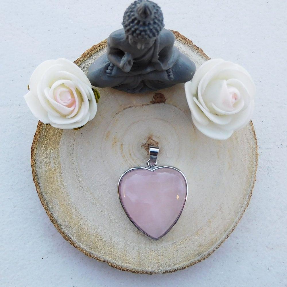 Pendentif coeur quartz rose haut