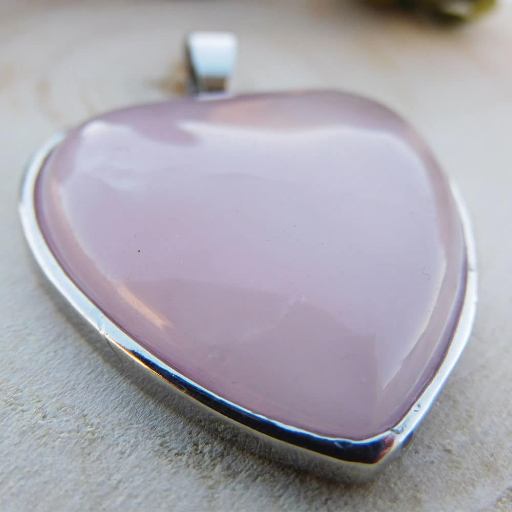 Pendentif coeur quartz rose zoom