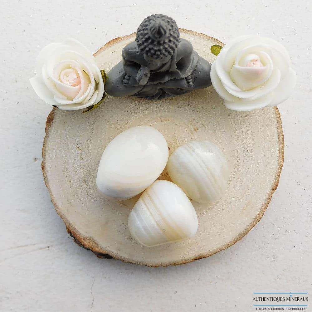Pierre roulée agate blanche