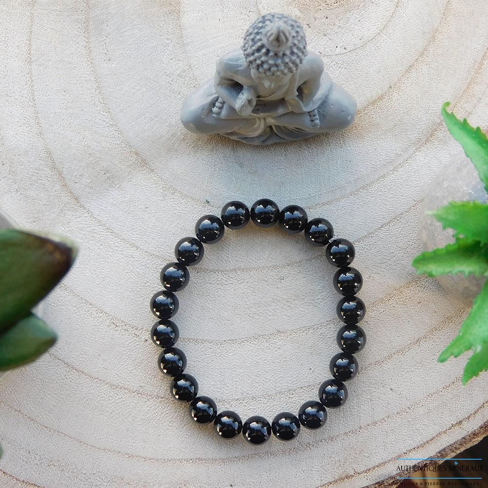 bracelet tourmaline noire 8mm face