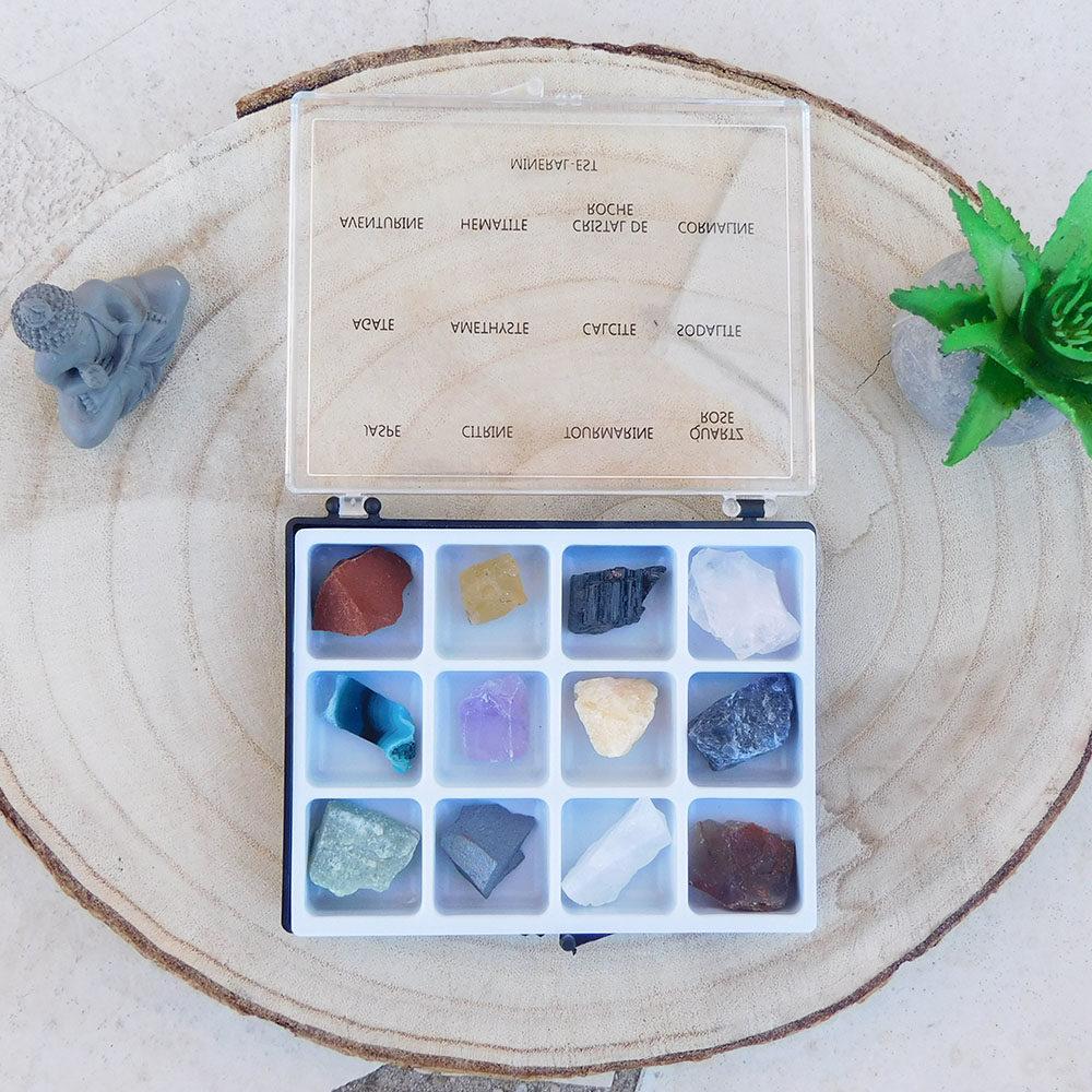 Boite 12 pierres brutes naturelles