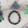 Bracelet Oeil de tigre + obsidienne 8mm haut