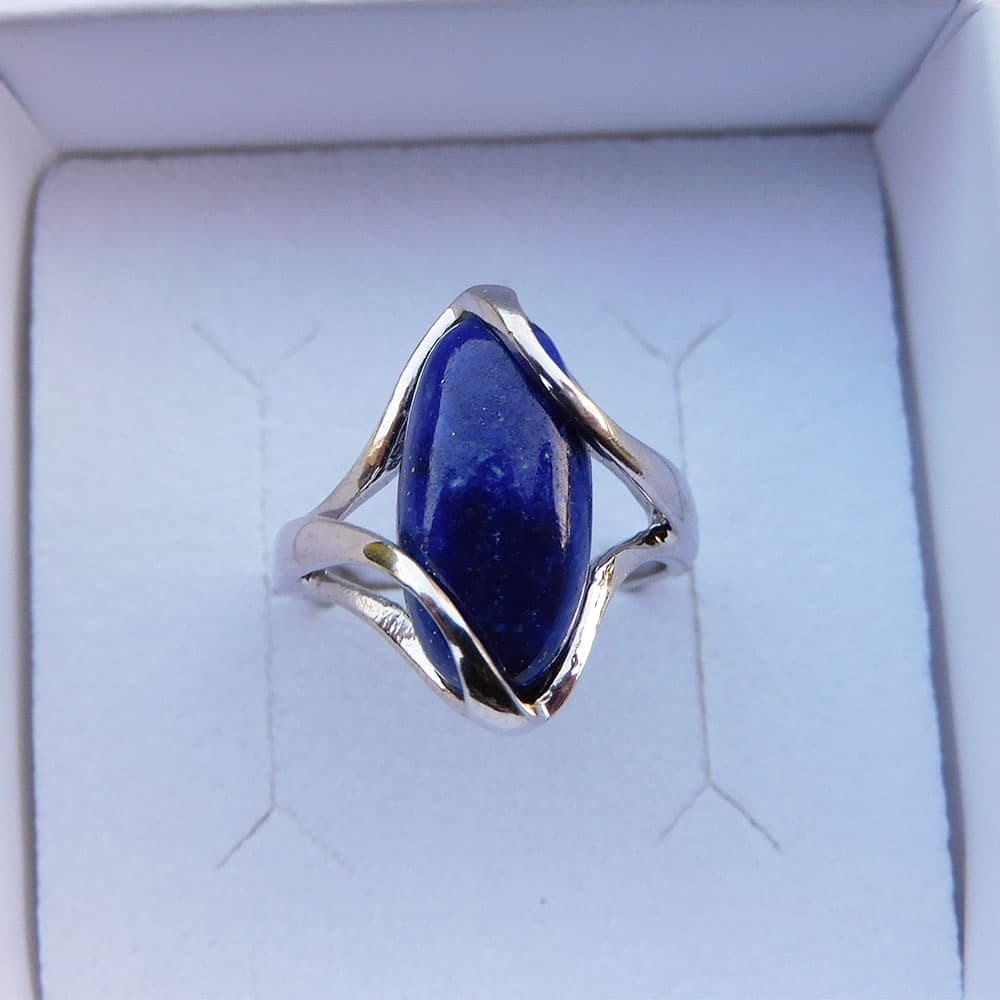 Bague Argent 925 Lapis Lazuli Mélèze haut