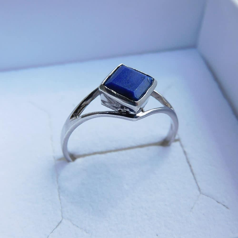 Bague argent 925 Lapis Lazuli Désire face