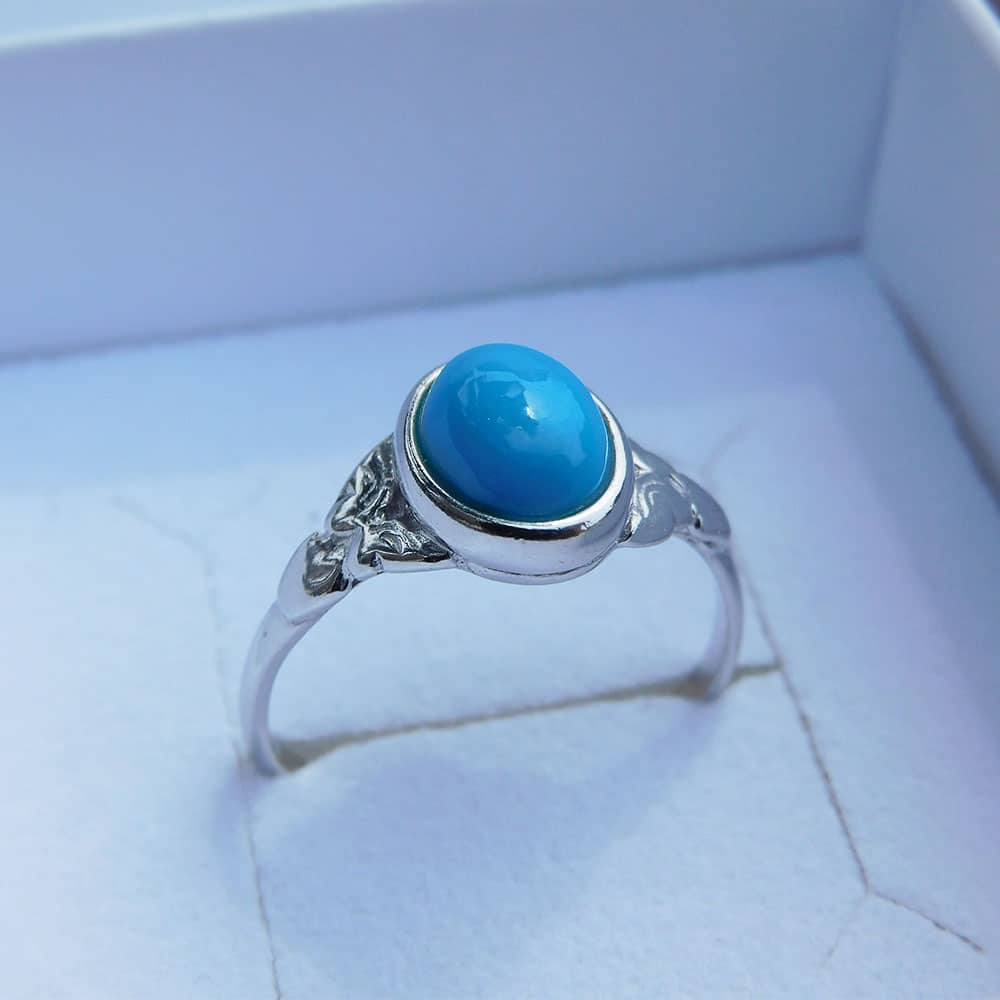 Bague argent 925 turquoise Alice face