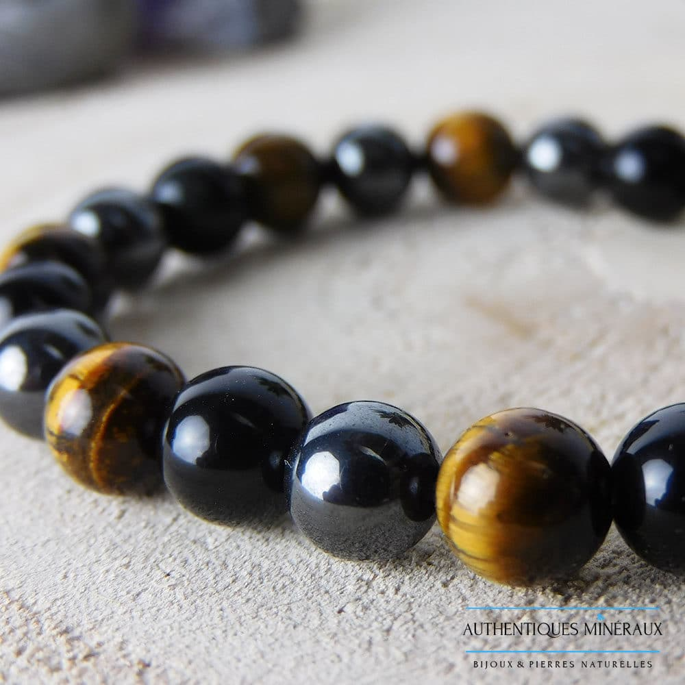 Bracelet triple protection 8mm oeil de tigre obsidienne hématite