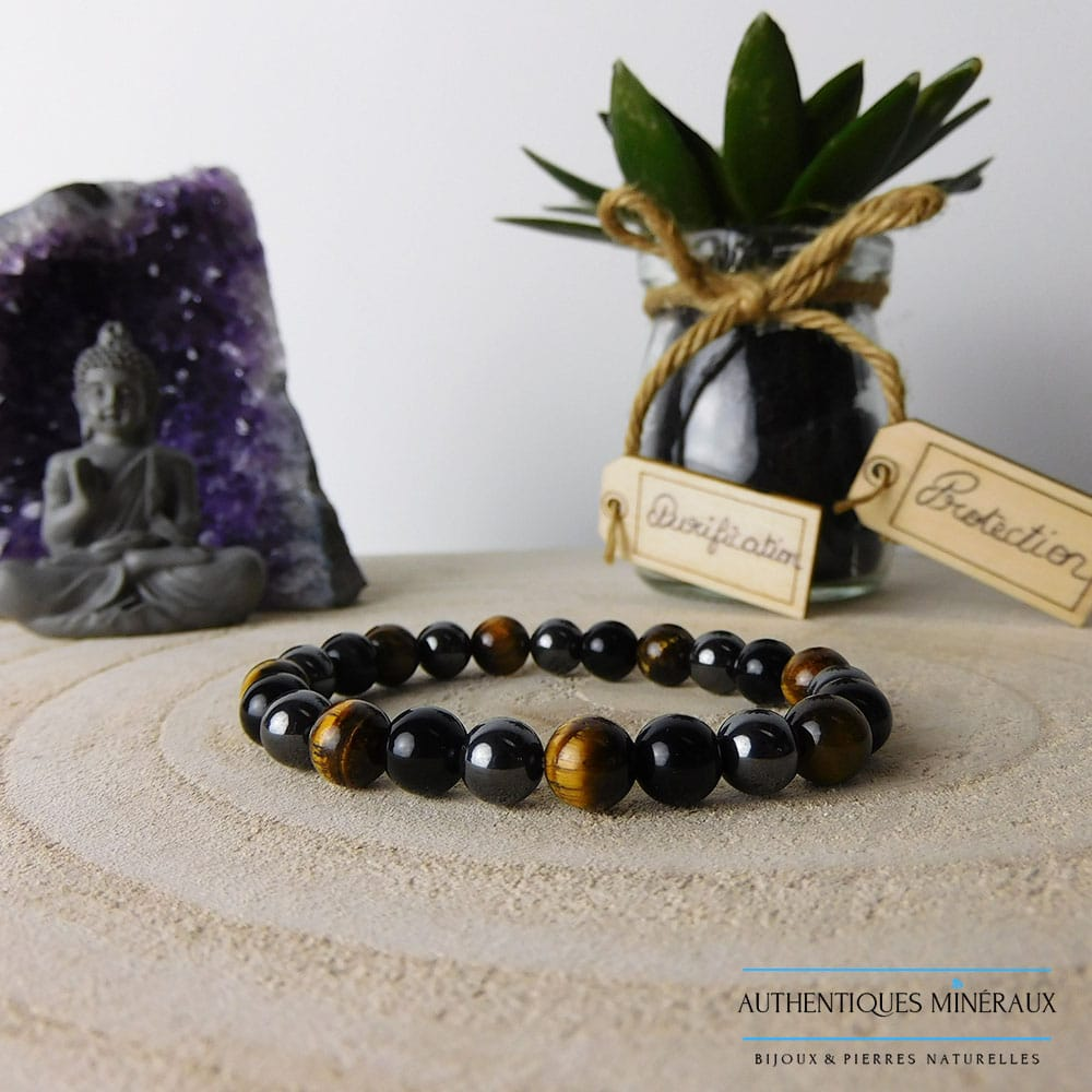 Bracelet triple protection 8mm oeil de tigre obsidienne hématite