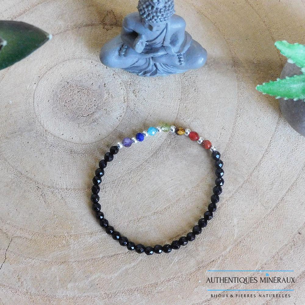 Bracelet 7 chakras perles facetées 2