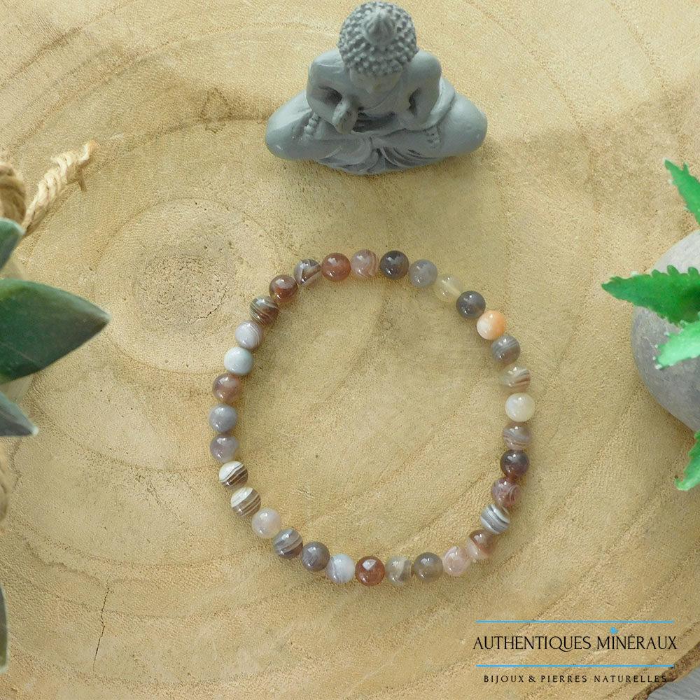 Bracelet Agate du Botswana 6mm