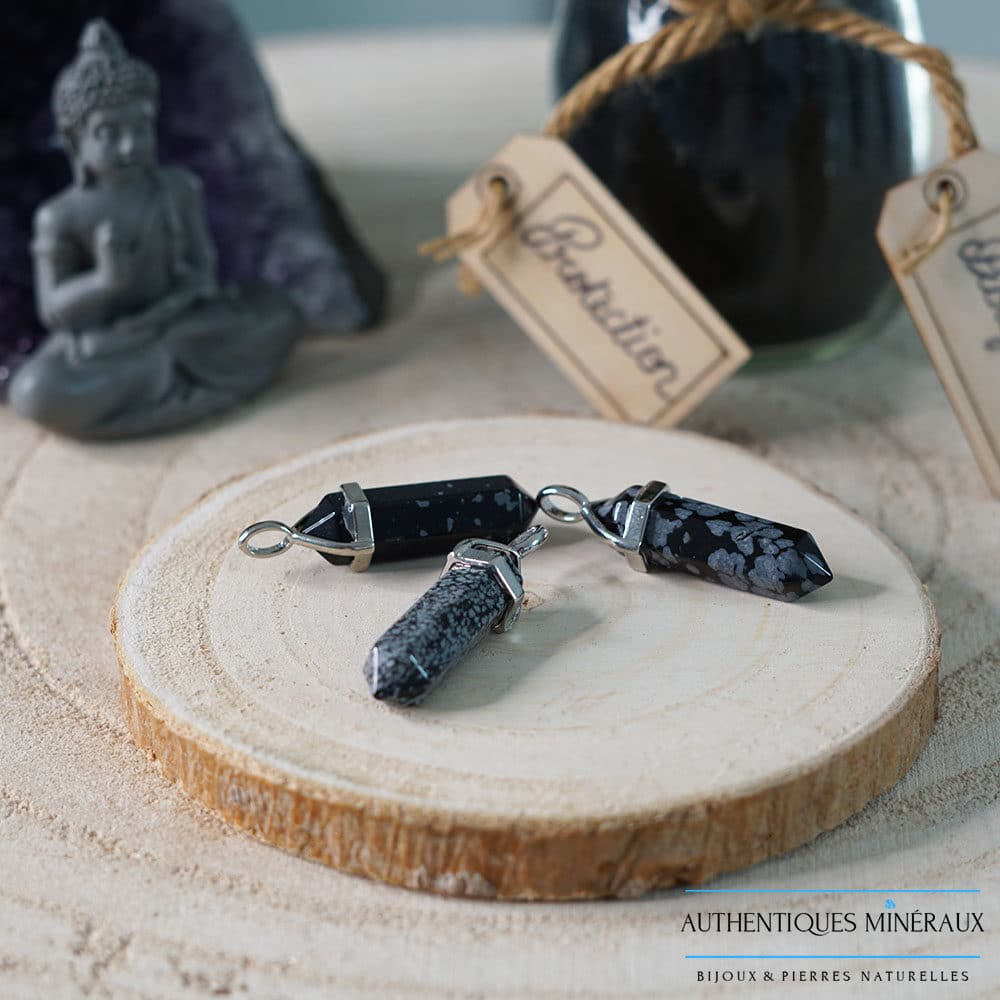 Pendentif pointe Obsidienne mouchetée