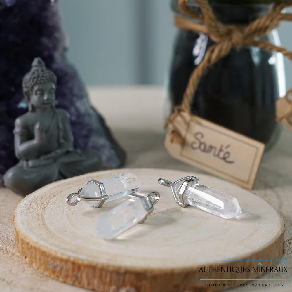 Pendentif pointe cristal de roche