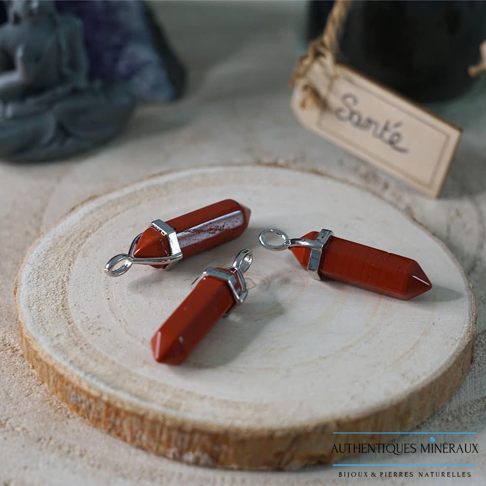 Pendentif pointe jaspe rouge
